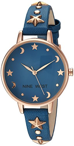 Nine West Women's Star Accented Rose Gold-Tone and Blue Strap Watch