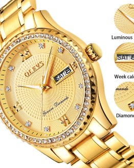 Genuine OLEVS Mens Gold Watches Luxury Quartz Diamond Watch