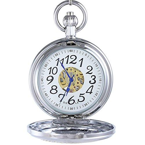 OGLE Waterproof Magnifier Skeleton Pocket Watch (Silver White) 3ATM Waterproof