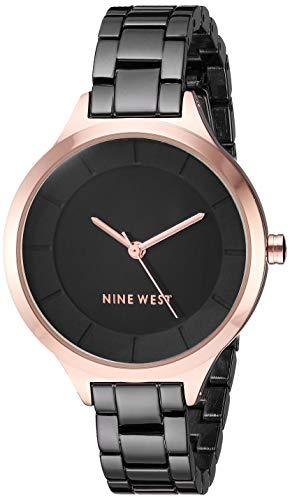 Nine West Women's Rose Gold-Tone and Gunmetal Bracelet Watch