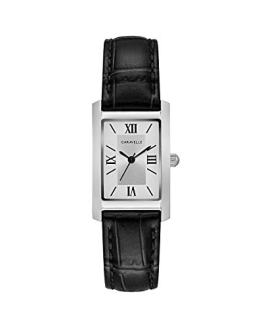 Caravelle Women's Stainless Steel Quartz Watch with Leather Calfskin Strap
