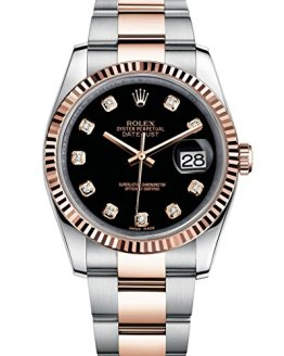 Rolex Datejust 36 Steel Rose Gold Watch Black Diamond Dial