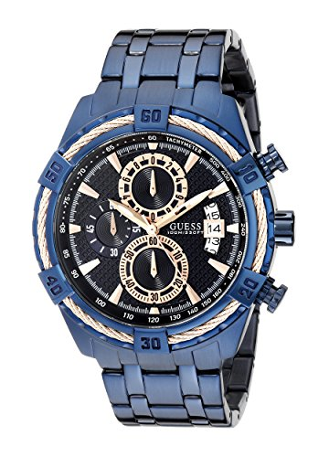 GUESS Men's Iconic Blue & Rose Gold Watch