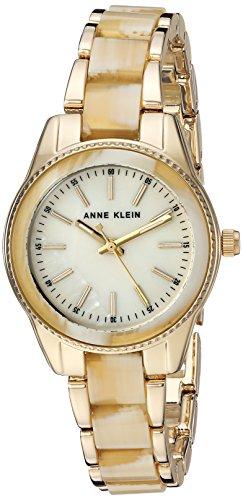 Anne Klein Women's Quartz Metal and Resin Dress Watch, Color: Gold Horn