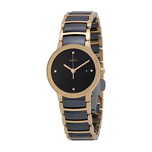 Rado Centrix Black Dial SS Two-Tone Ceramic Quartz Ladies Watch