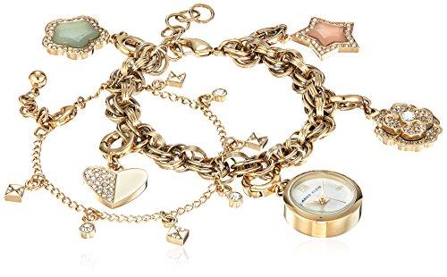 Anne Klein Women's Swarovski Crystal Accented Gold-Tone Charm Watch