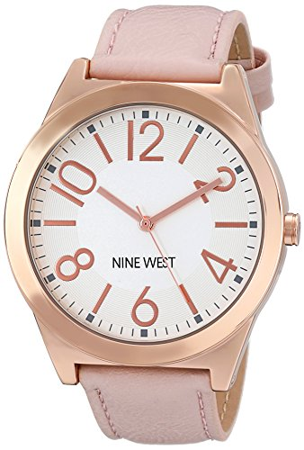 Nine West Women's Rose Gold-Tone Case Watch with Blush Strap