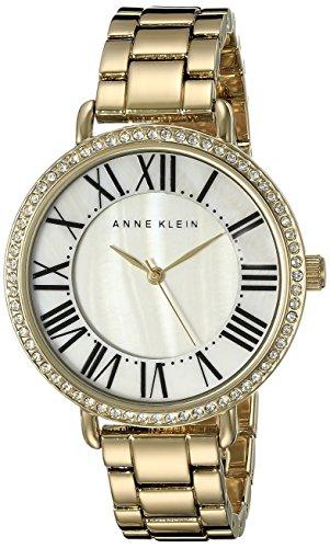 Anne Klein Women's Swarovski Crystal-Accented Gold-Tone Bracelet Watch