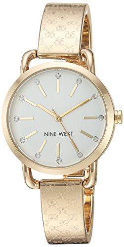 Nine West Women's Crystal Accented Gold-Tone Bangle Watch
