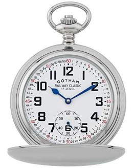 Gotham Men's Silver-Tone Railroad Dial Double Hunter Pocket Watch