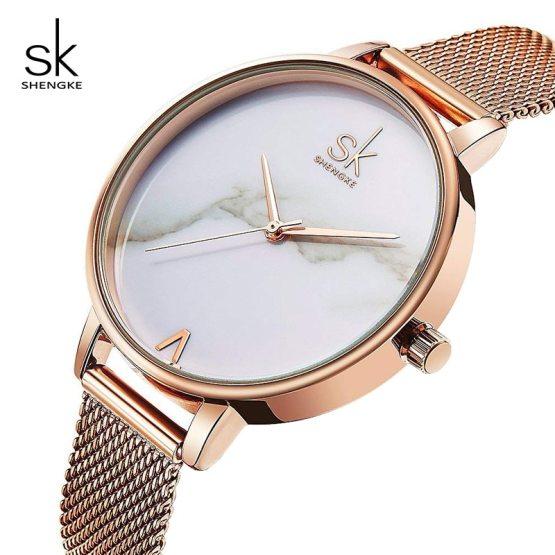 Shengke Creative Marble Dial Watches Women Luxury Stainless Steel Quartz Watch