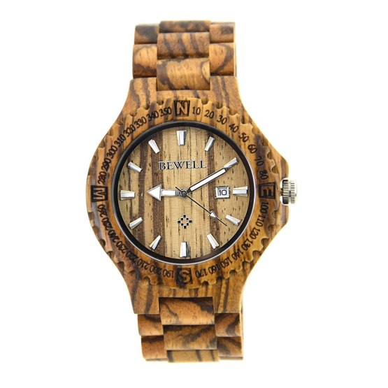 BEWELL Men's Wrist Watches Wooden Case With Wooden Band