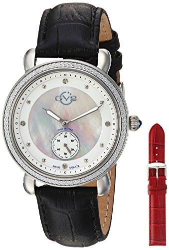 GV2 by Gevril Marsala - Sub Eye Womens Swiss Quartz Black Leather Strap Watch