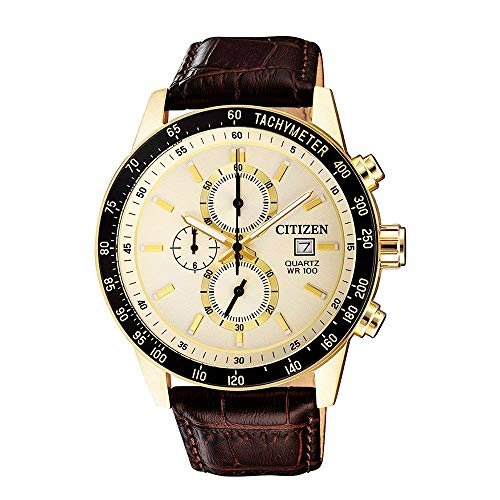 Citizen Stainless Steel Watch, Round Gold Dial, Stainless Steel Case