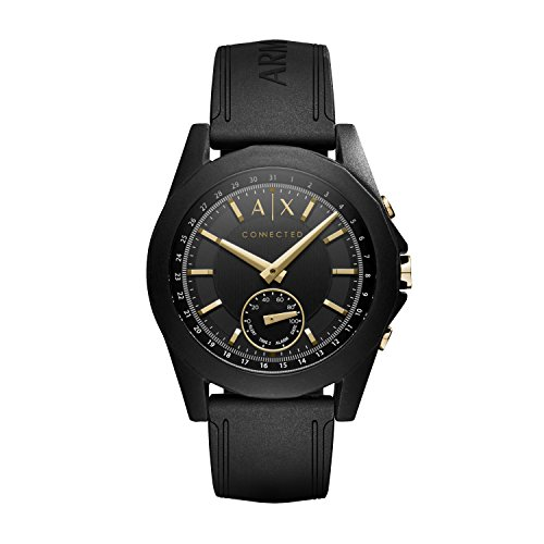 Armani Exchange Men's Hybrid Smartwatch, Black Silicone