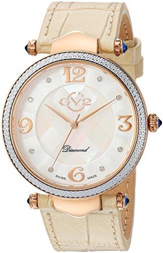 GV2 by Gevril Sassari Womens Diamond Swiss Quartz Beige Leather Strap Watch