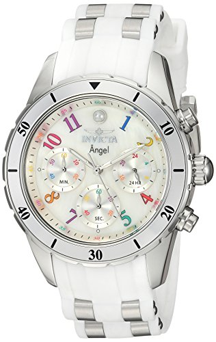 Invicta Women's Angel Stainless Steel Quartz Watch with Silicone Strap, White