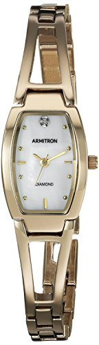 Armitron Women's Diamond-Accented Dial Gold-Tone Bangle Watch