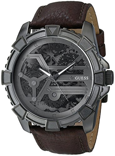GUESS Men's Dynamic Brown Leather Watch