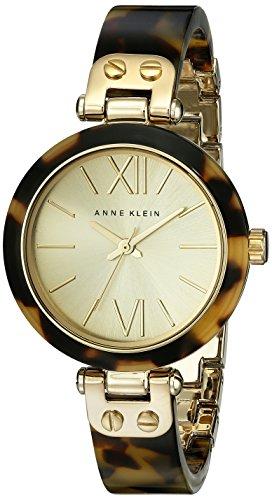 Anne Klein Women's Gold-Tone Tortoise Shell Plastic Bracelet Watch