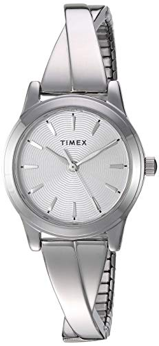 Timex Women's Stretch Bangle Crisscross Silver-Tone Expansion Band Watch