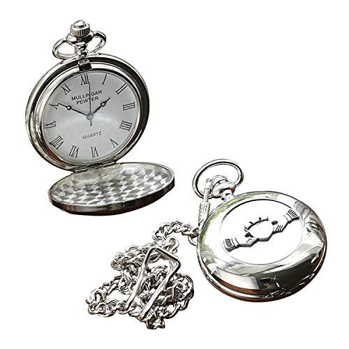 Irish Celtic Claddagh Pocket Watch by Mullingar Pewter