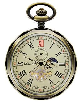 TREEWETO Mechanical Pocket Watches Bronze Roman Numerals Open Face