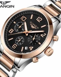 Men Watch GUANQIN Chronograph Quartz Watches Date Luminous
