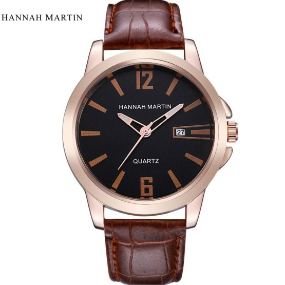 Mens Watches Luxury Hannah Martin Leather Strap Casual Quartz Watch