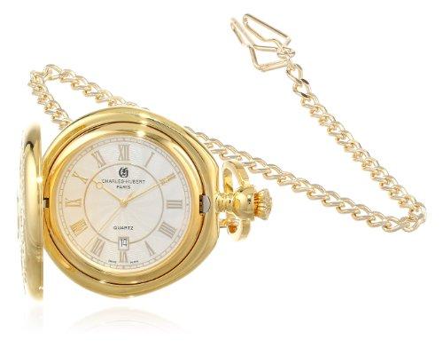 Charles-Hubert, Paris Gold-Plated Hunter Case Quartz Pocket Watch