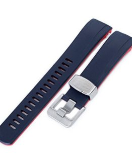 22mm Crafter Blue Rubber Watch Band, Color Blue & Red
