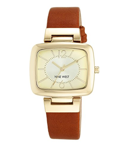 Nine West Women's Gold-Tone and Brown Strap Watch