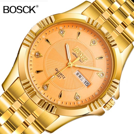 BOSCK Top Brand Gold Full Stainless Steel Role Luxury Watch