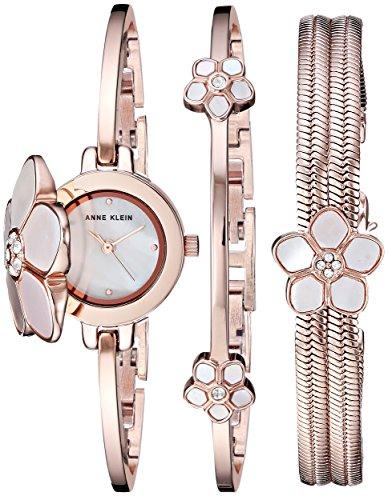 Anne Klein Women's Swarovski Crystal Flower Accented Watch