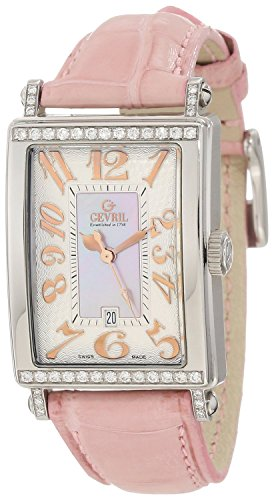 Gevril Women's 7248RT.10A Pink Mother-of-Pearl Genuine Ostrich Strap Watch
