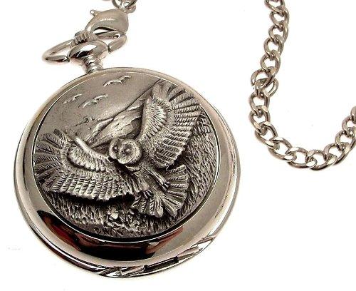 Solid pewter fronted mechanical skeleton pocket watch