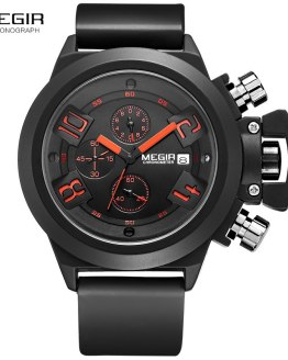 Megir Fashion Mens Silicone Band Sport Quartz Wrist Watches