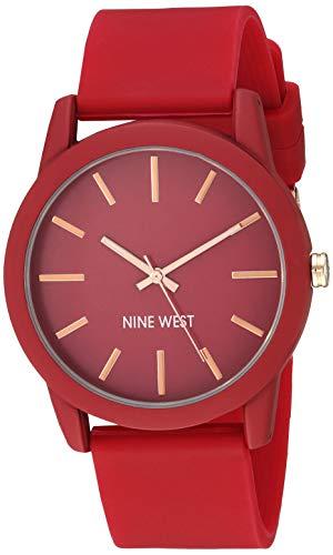 Nine West Women's Burgundy Silicone Strap Watch