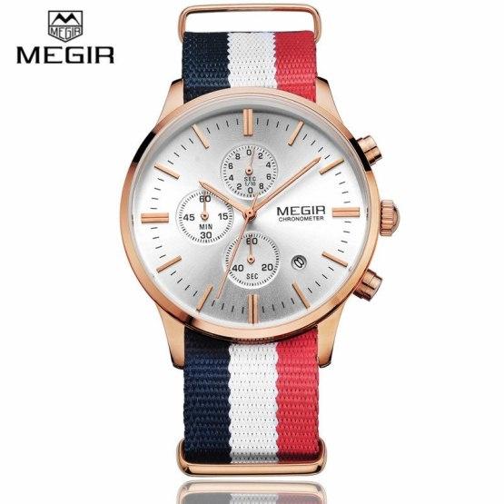Megir Men's Chronograph Canvas Wrist Watches