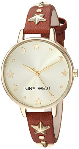 Nine West Women's Star Accented Gold-Tone and Brown Strap Watch