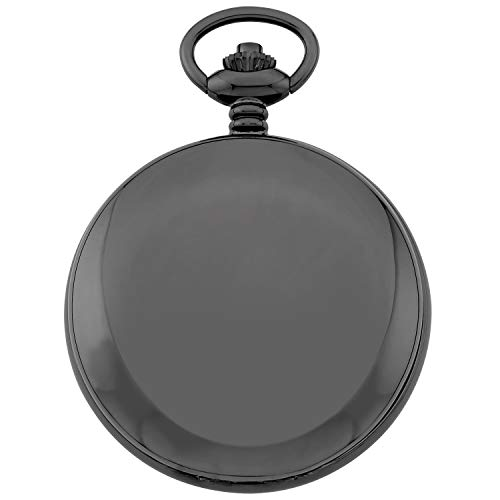 Gotham Men's Mechanical Pocket Watch Gotham Men's Gun-Tone Railroad Dial Double Hunter 17 Jewel Mechanical Pocket Watch # GWC18806B