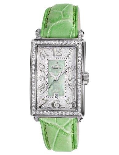Gevril Women's Green Mother-of-Pearl Genuine Alligator Strap Watch