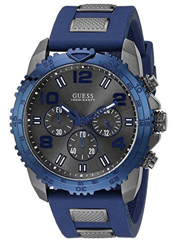Guess Men's Silicone Sporty Multi-Function Analog Quartz Watch
