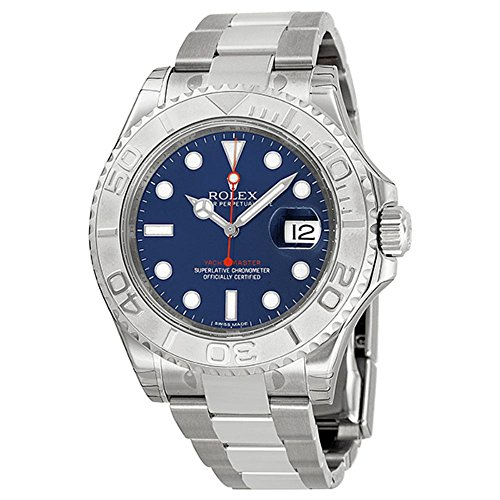 Rolex Yachtmaster Steel and Platinum Blue Dial Mens Watch