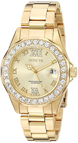 Invicta Women's Pro Diver Gold Dial Gold-Plated Stainless Steel Watch