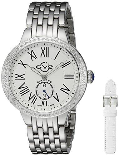 GV2 by Gevril Astor Womens Diamond Swiss Quartz Stainless Steel Bracelet Watch