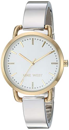 Nine West Women's Glitter Accented Two-Tone Bangle Watch