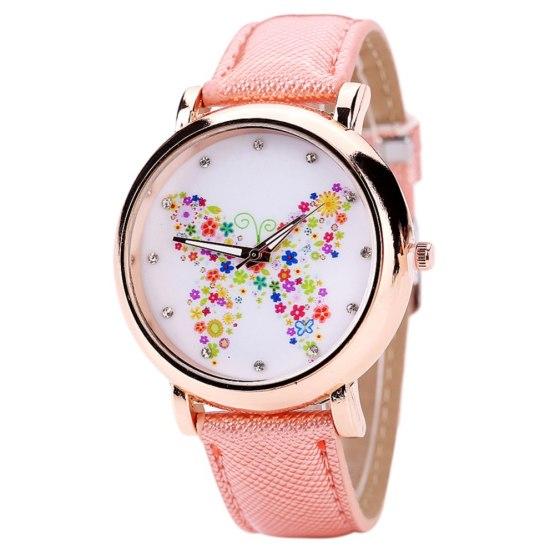 Fashion Leather Women Wrist Watches 2018 Brand Flower Butterfly Ladies Watch