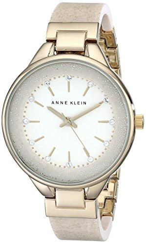 Anne Klein Women's Swarovski Crystal Accented Cream Bangle Watch