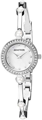 Armitron Women's Swarovski Crystal Accented Silver-Tone Bangle Watch